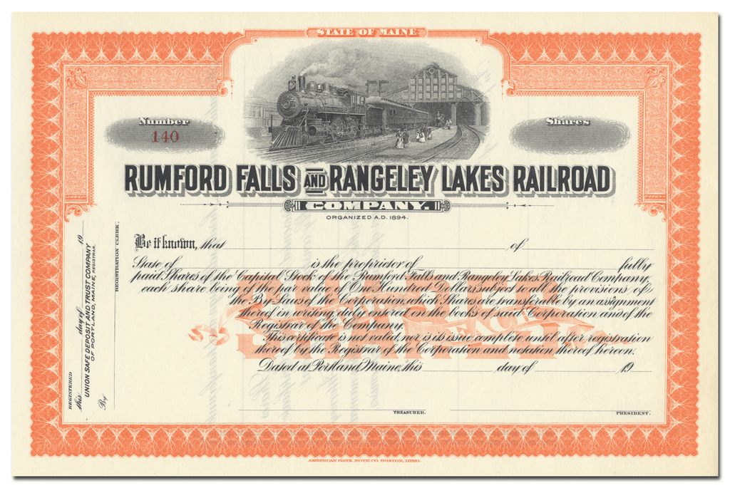 Rumford Falls and Rangeley Lakes Railroad Company Stock Certificate
