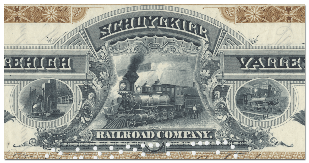 Schuylkill and Lehigh Valley Railroad Company Stock Certificate