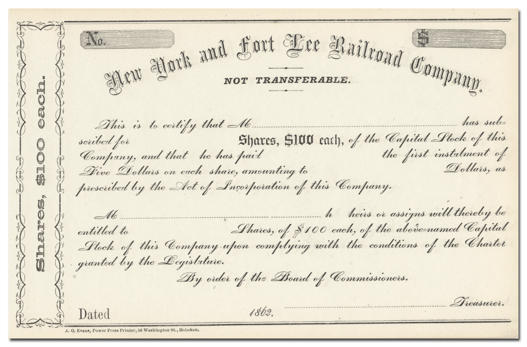 New York and Fort Lee Railroad Company Stock Certificate