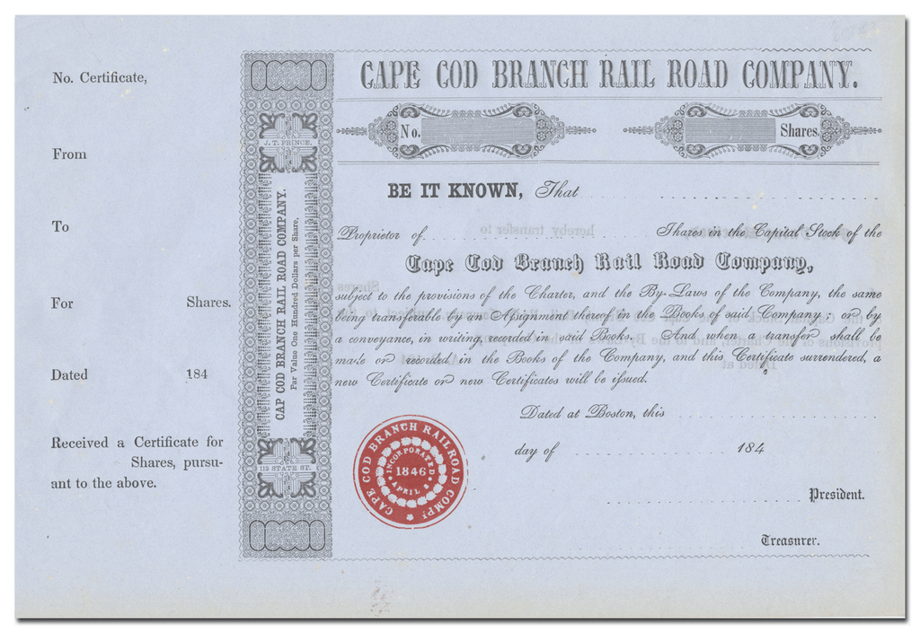 Cape Cod Branch Rail Road Company Stock Certificate