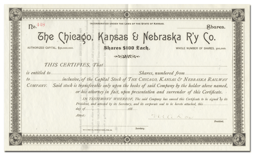 Chicago, Kansas & Nebraska Railway Company Stock Certificate