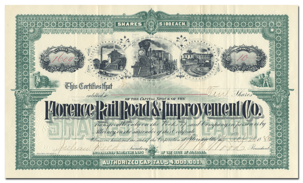 Florence Rail Road & Improvement Co. Stock Certificate