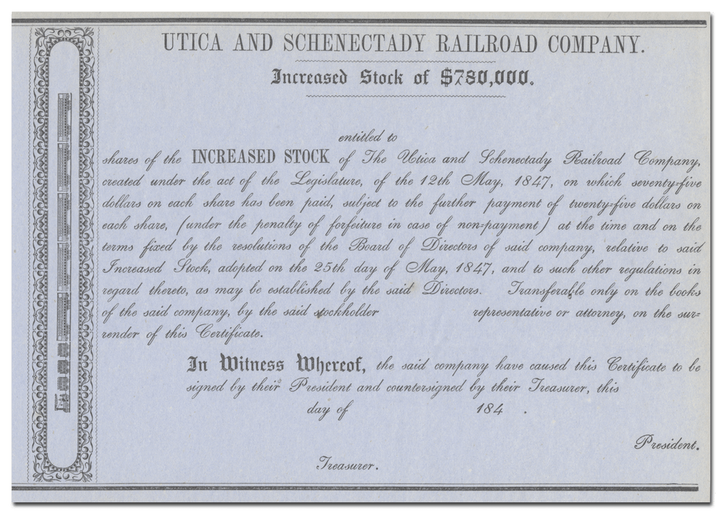 Utica and Schenectady Railroad Company Stock Certificate