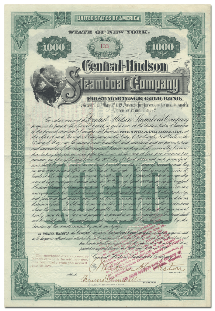 Central Hudson Steamboat Company Bond Certificate