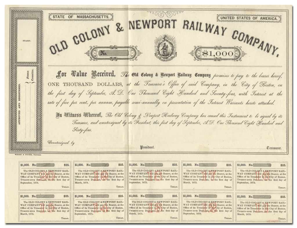 Old Colony & Newport Railway Company Bond Certificate