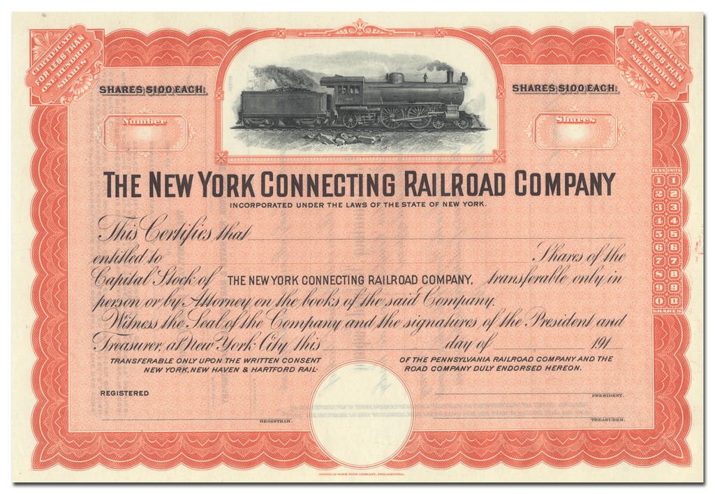 New York Connecting Railroad Company Stock Certificate