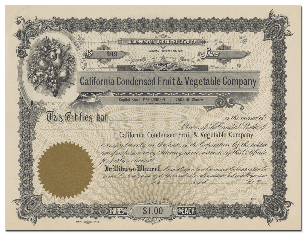 California Condensed Fruit & Vegetable Company Stock Certificate