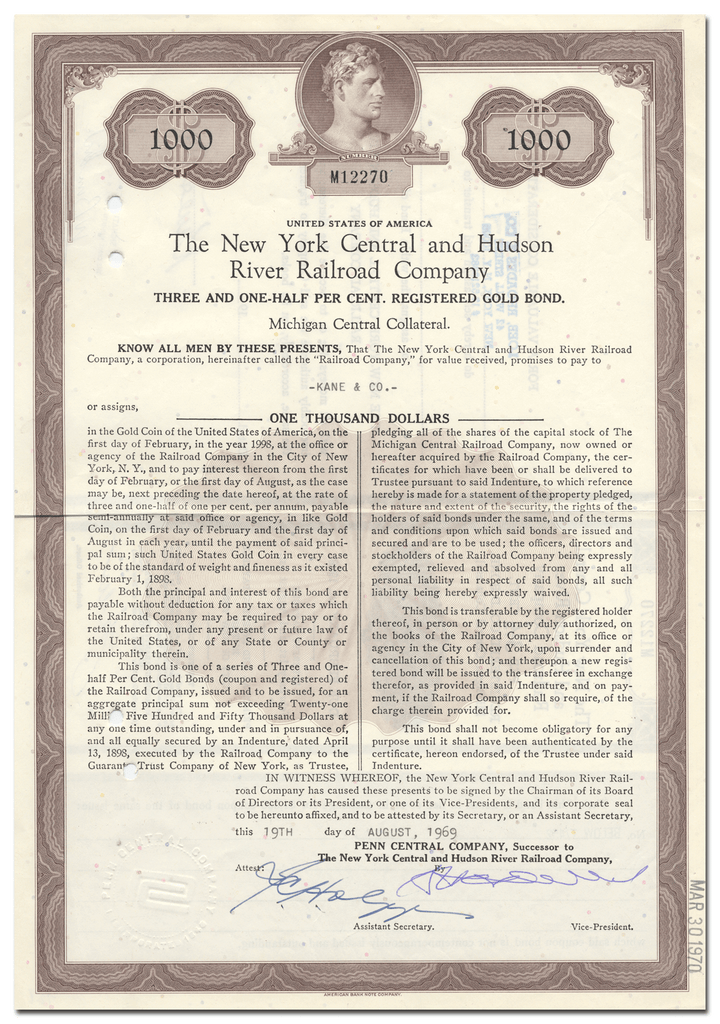 New York Central and Hudson River Railroad Company Bond Certificate