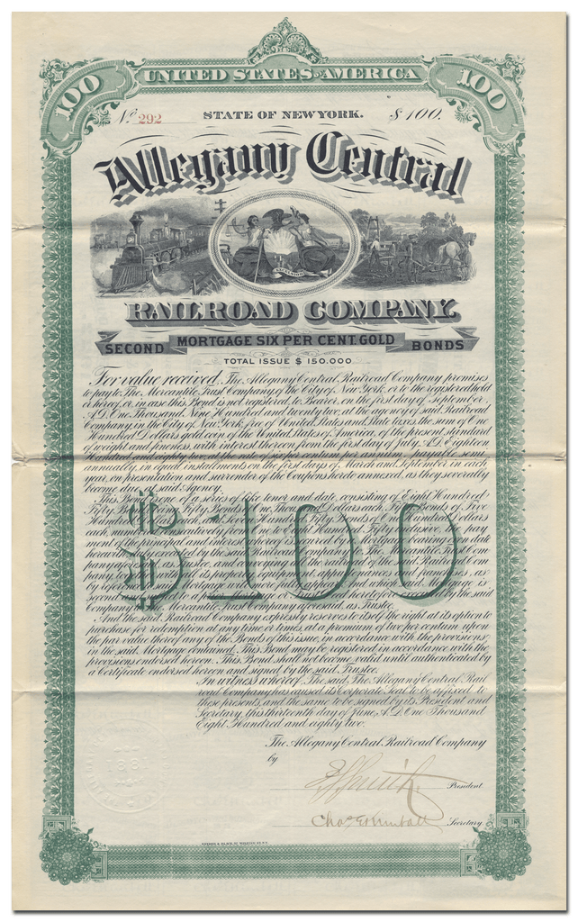 Allegany Central Railroad Company Bond Certificate