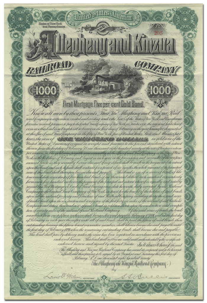 Allegheny and Kinzua Railroad Company Bond Certificate
