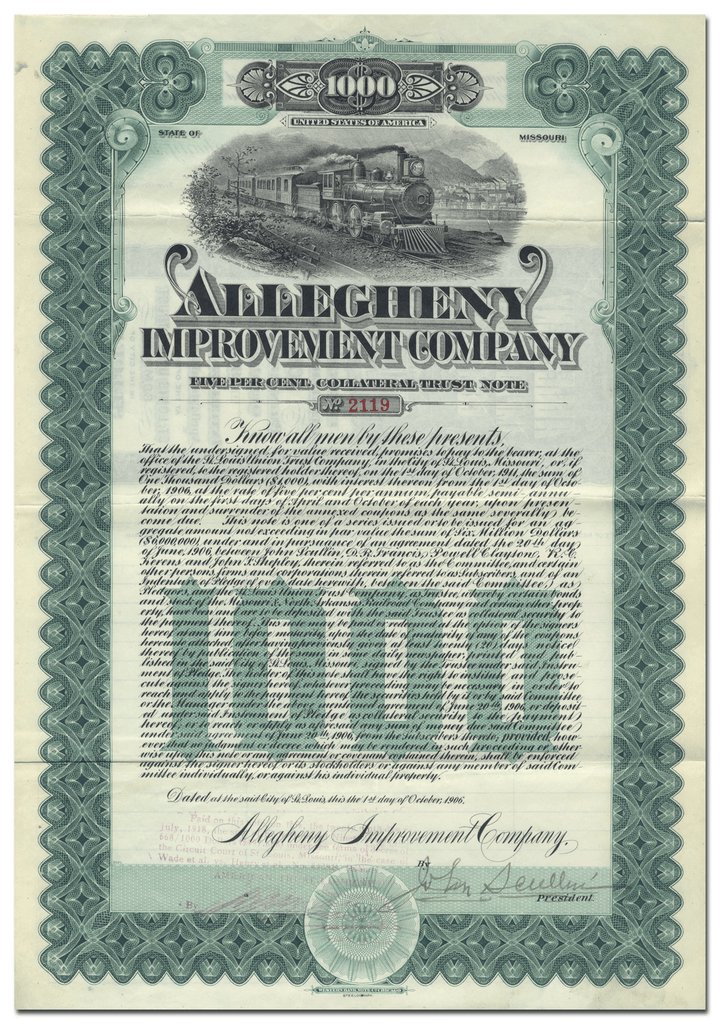 Allegheny Improvement Company (Signed by John Scullin)