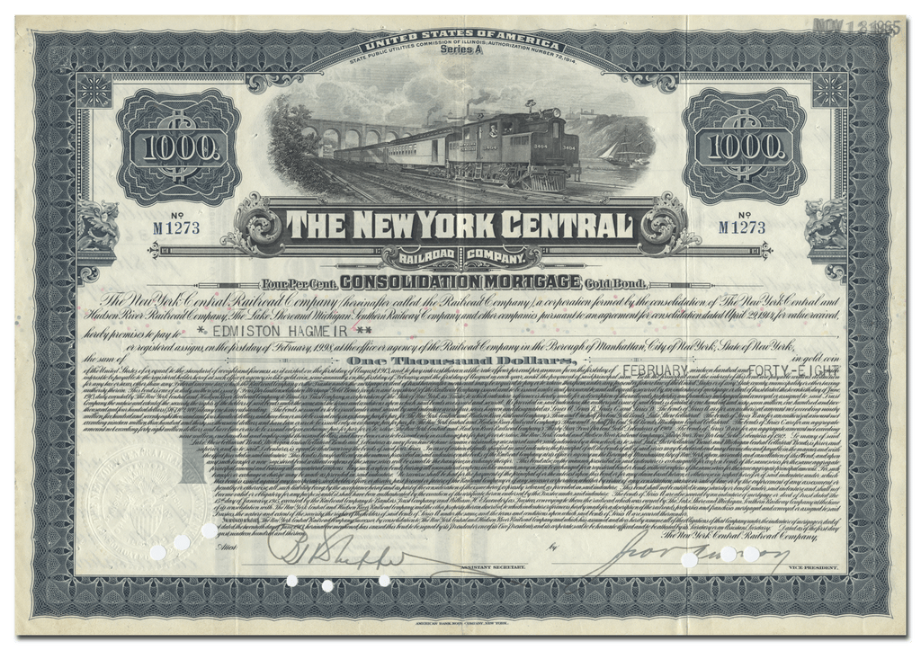 New York Central Railroad Company Bond Certificate