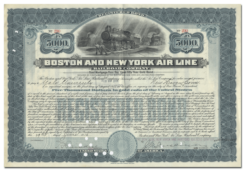 Boston and New York Air Line Railroad Company Bond Certificate