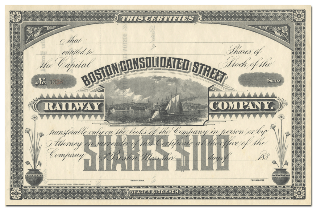 Boston Consolidated Street Railway Company Stock Certificate