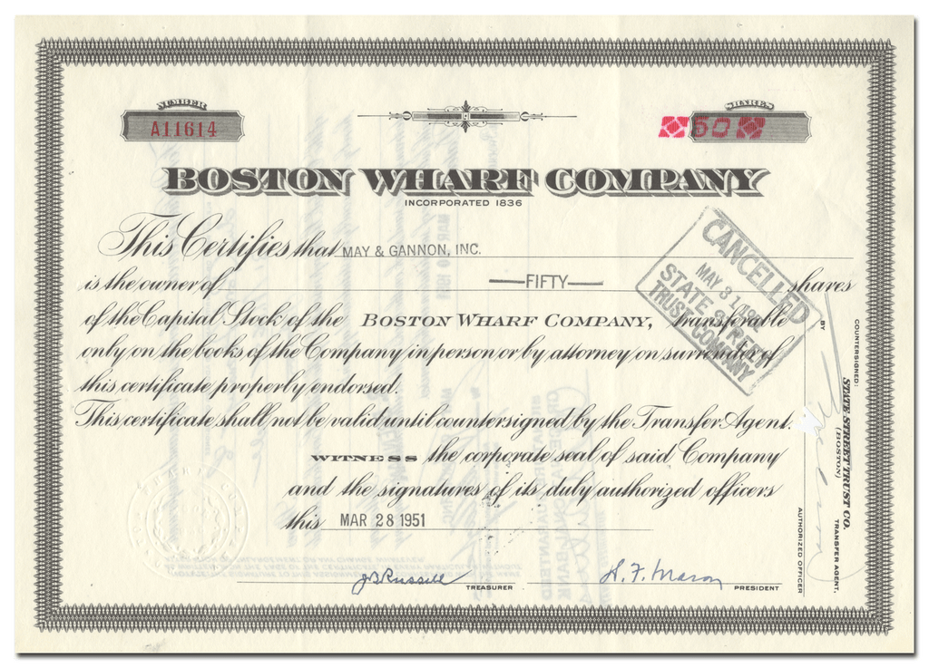 Boston Wharf Company Stock Certificate