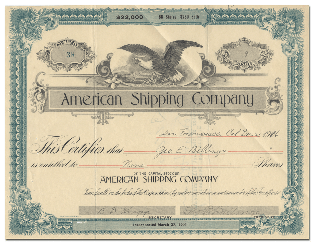 American Shipping Company Stock Certificate
