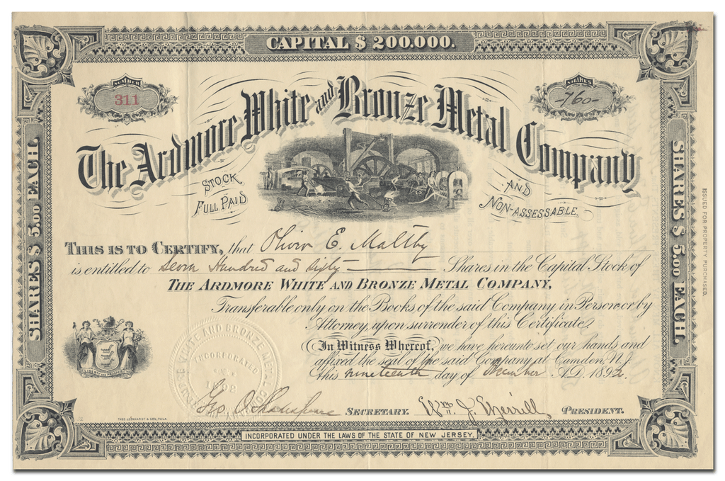 Ardmore White and Bronze Metal Company Stock Certificate