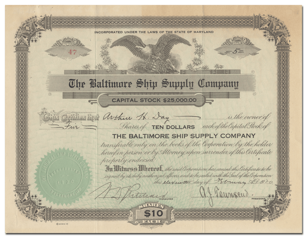 Baltimore Ship Supply Company Stock Certificate