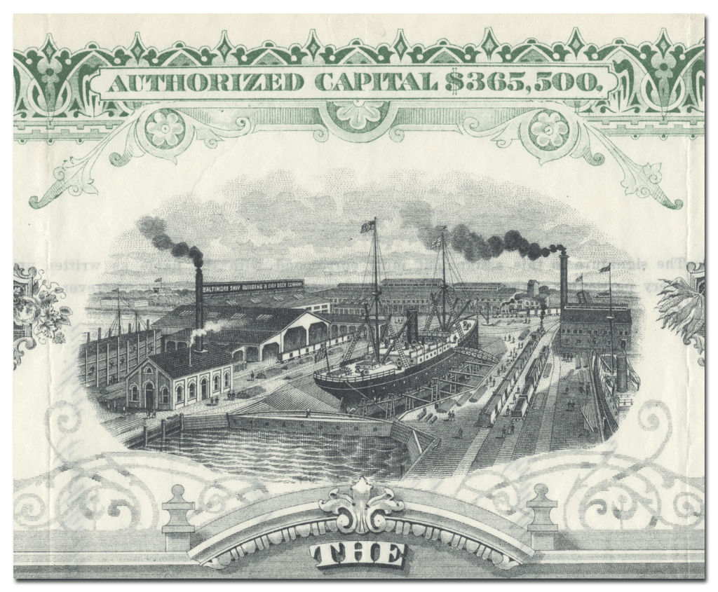 Baltimore Shipbuilding and Dry Dock Company Stock Certificate