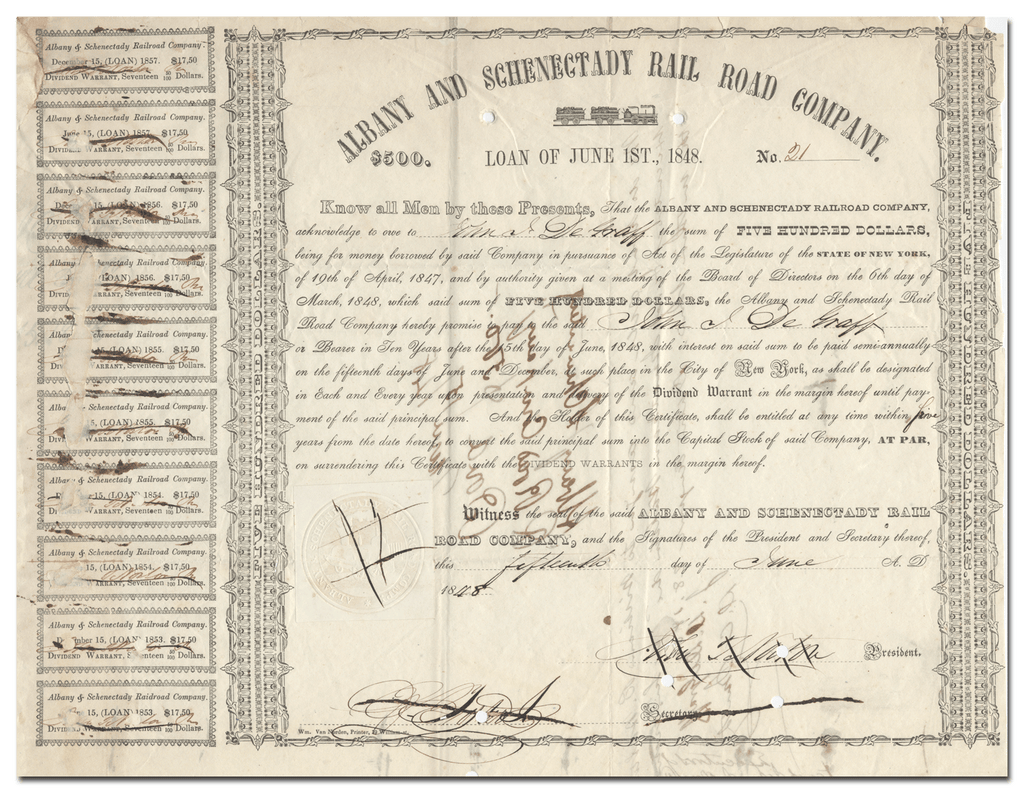 Albany and Schenectady Rail Road Company Bond Certificate