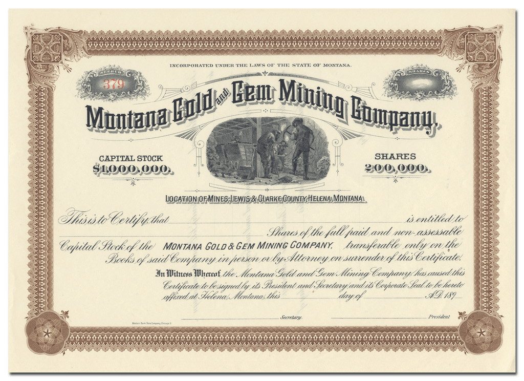 Montana Gold and Gem Mining Company Stock Certificate