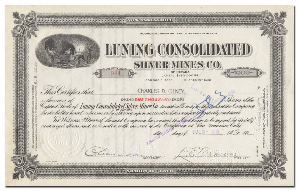 Luning Consolidated Silver Mines Co. Stock Certificate