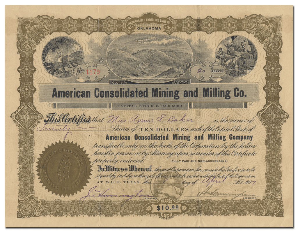 American Consolidated Mining and Milling Co. Stock Certificate