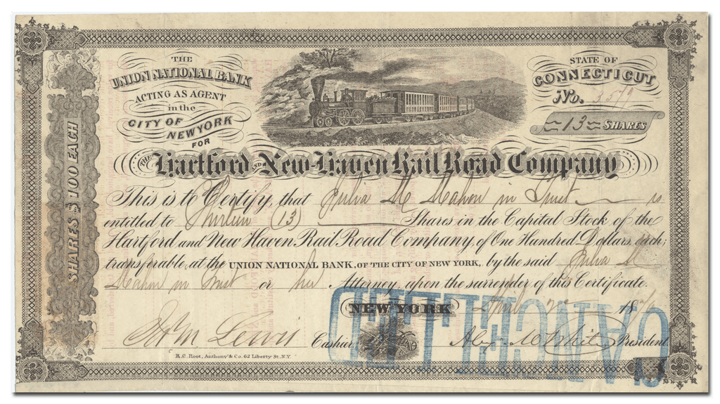 Hartford and New Haven Rail Road Company Stock Certificate