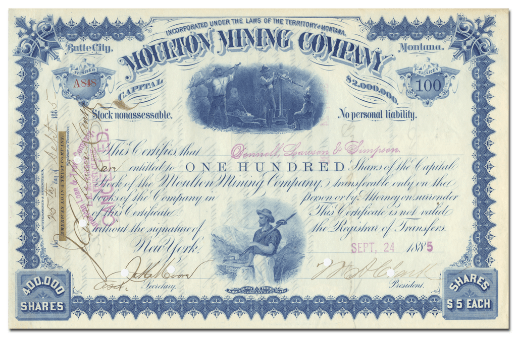 Moulton Mining Company Stock Certificate Signed by William A. Clark