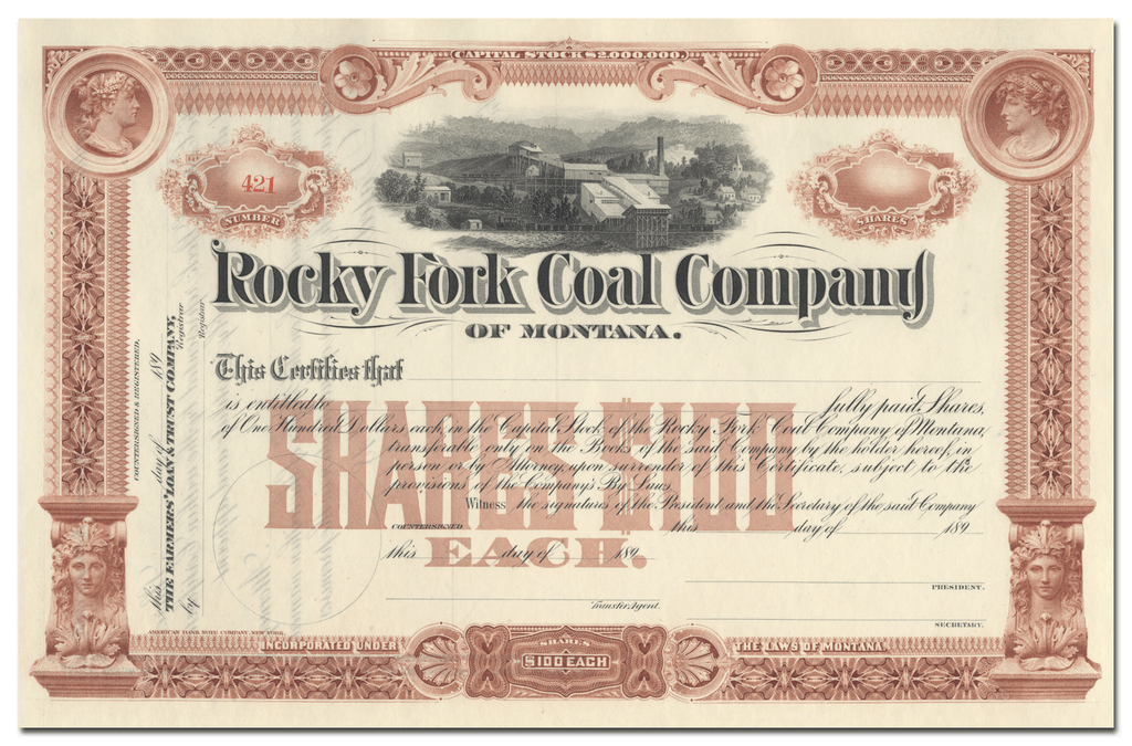 Rocky Fork Coal Company of Montana Stock Certificate