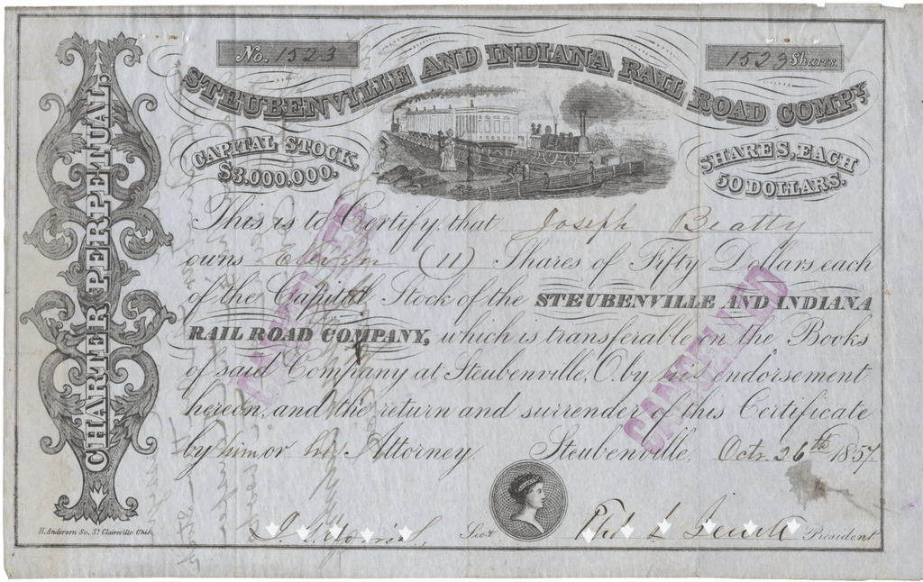 Steubenville and Indiana Rail Road Company Stock Certificate