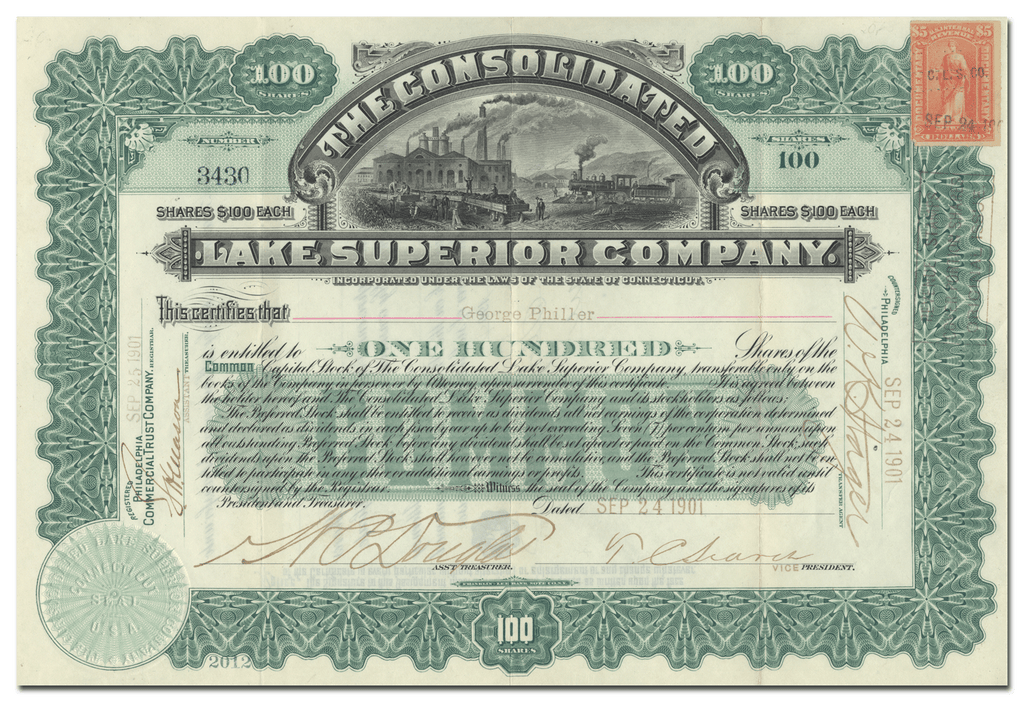 Consolidated Lake Superior Company Stock Certificate