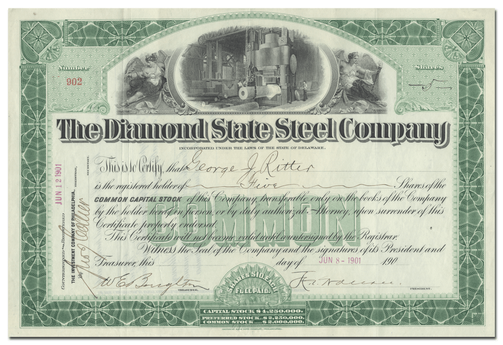 Diamond State Steel Company Stock Certificate