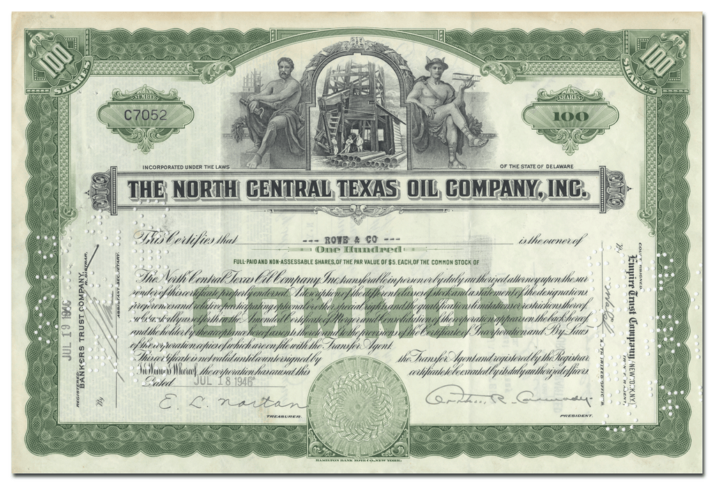 North Central Texas Oil Company, Inc. Stock Certificate