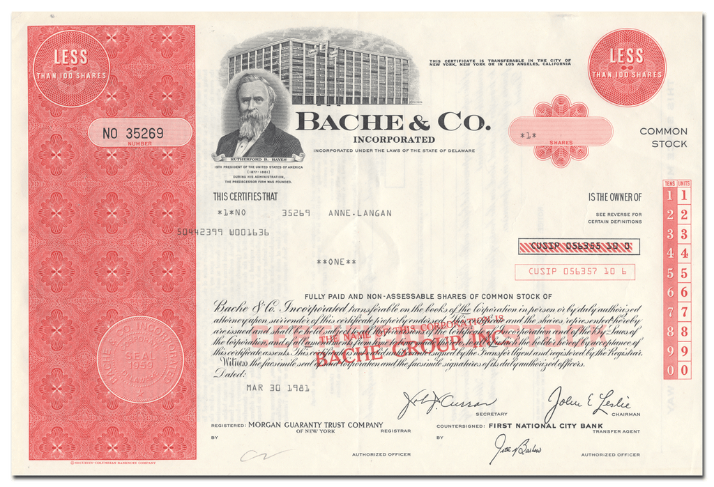 Bache & Co. Incorporated Stock Certificate