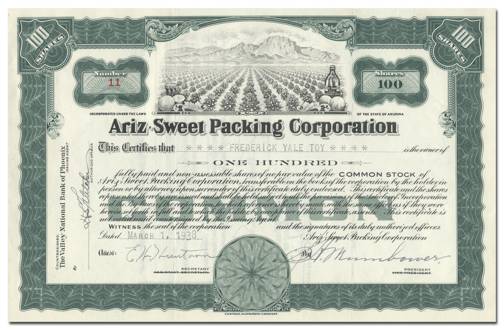 Ariz-Sweet Packing Corporation Stock Certificate