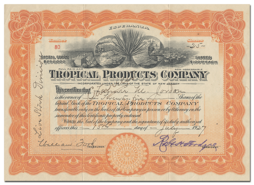 Tropical Products Company Stock Certificate
