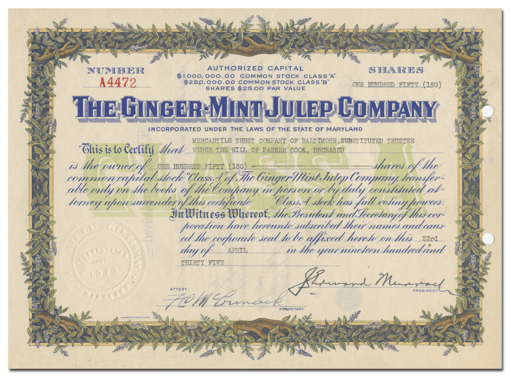 Ginger-Mint Julep Company Stock Certificate