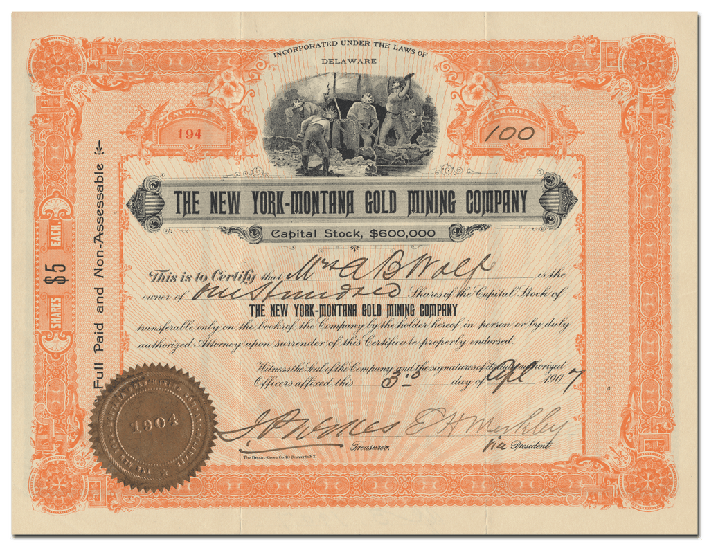 New York-Montana Gold Mining Company Stock Certificate