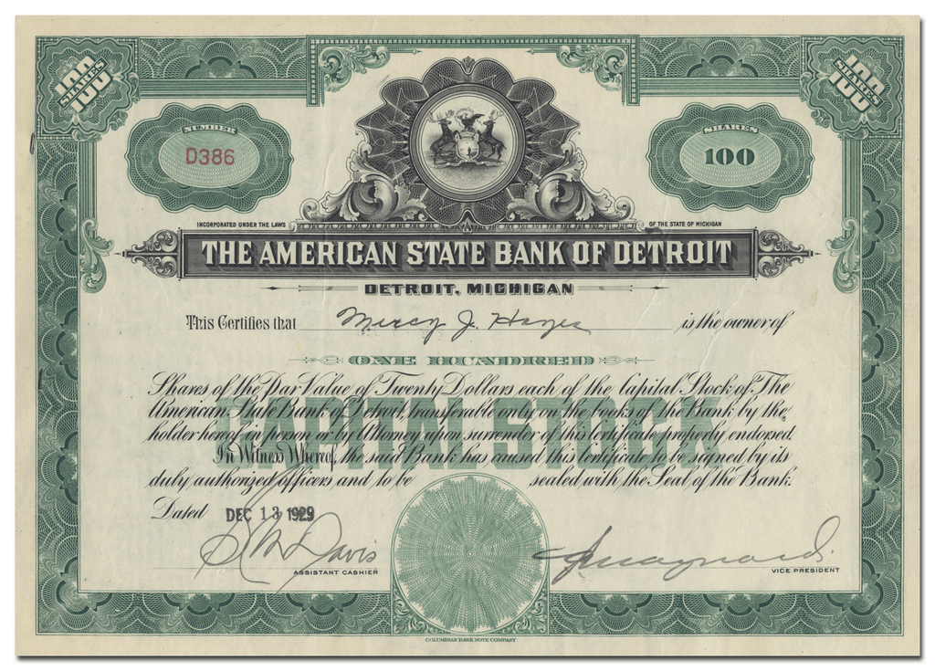 American State Bank of Detroit Stock Certificate