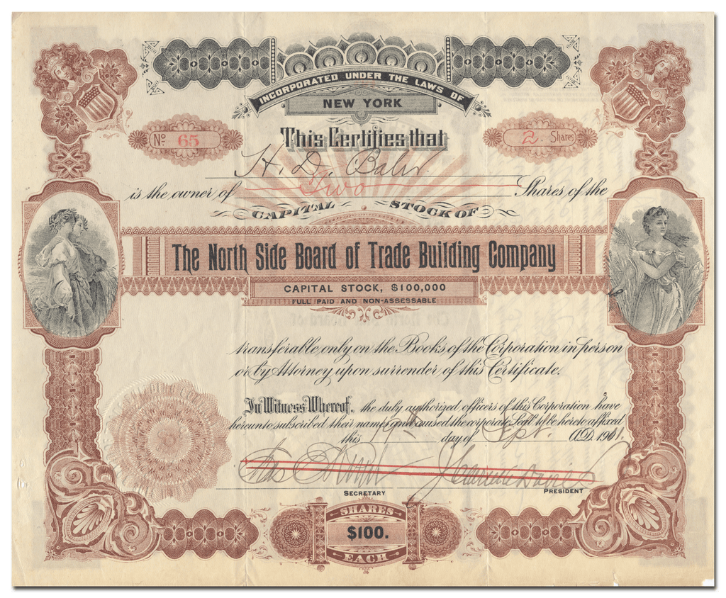 North Side Board of Trade Building Company Stock Certificate