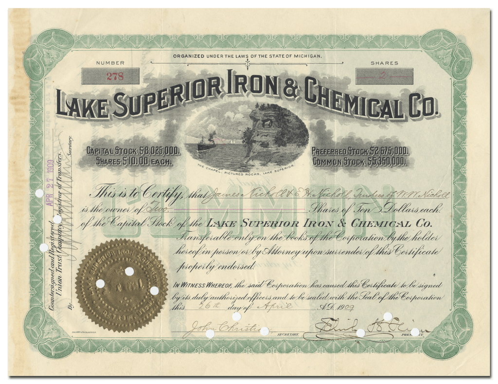 Lake Superior Iron & Chemical Co. Stock Certificate