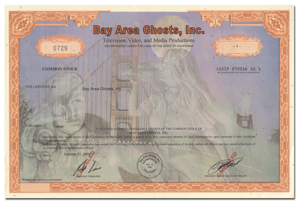 Bay Area Ghosts, Inc. Stock Certificate