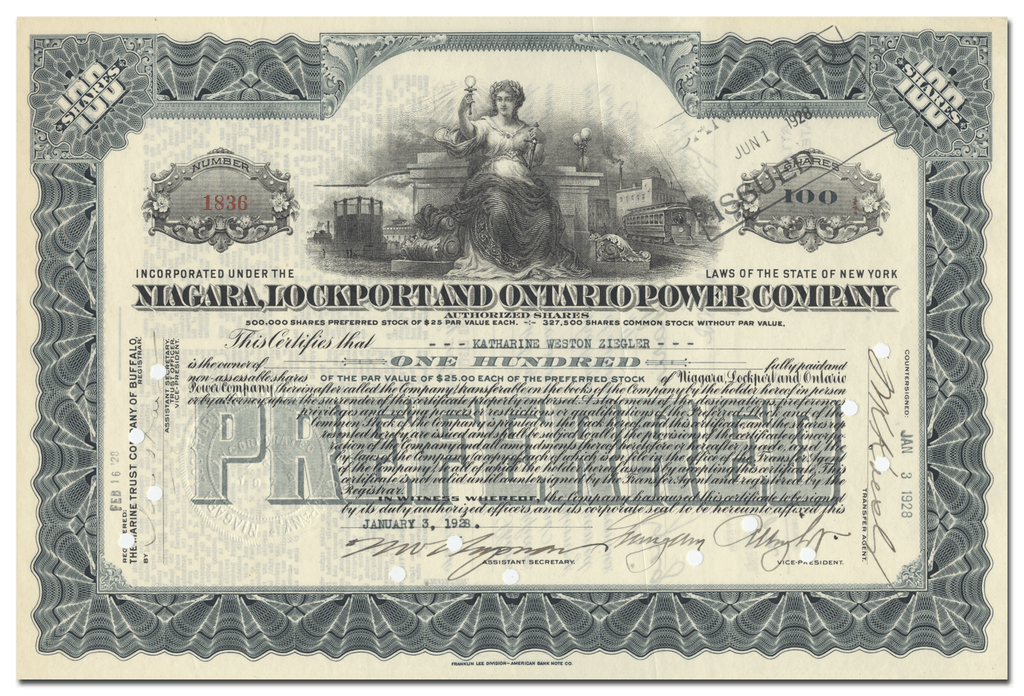 New York, Lockport and Ontario Power Company Stock Certificate