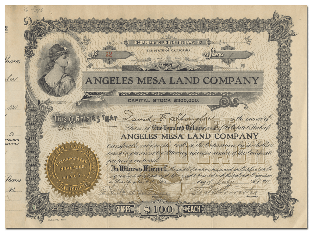 Angeles Mesa Land Company Stock Certificate