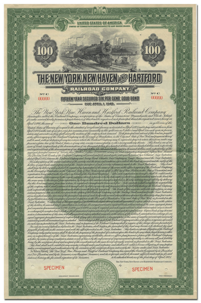 New York, New Haven and Hartford Railroad Company Specimen Bond Certificate