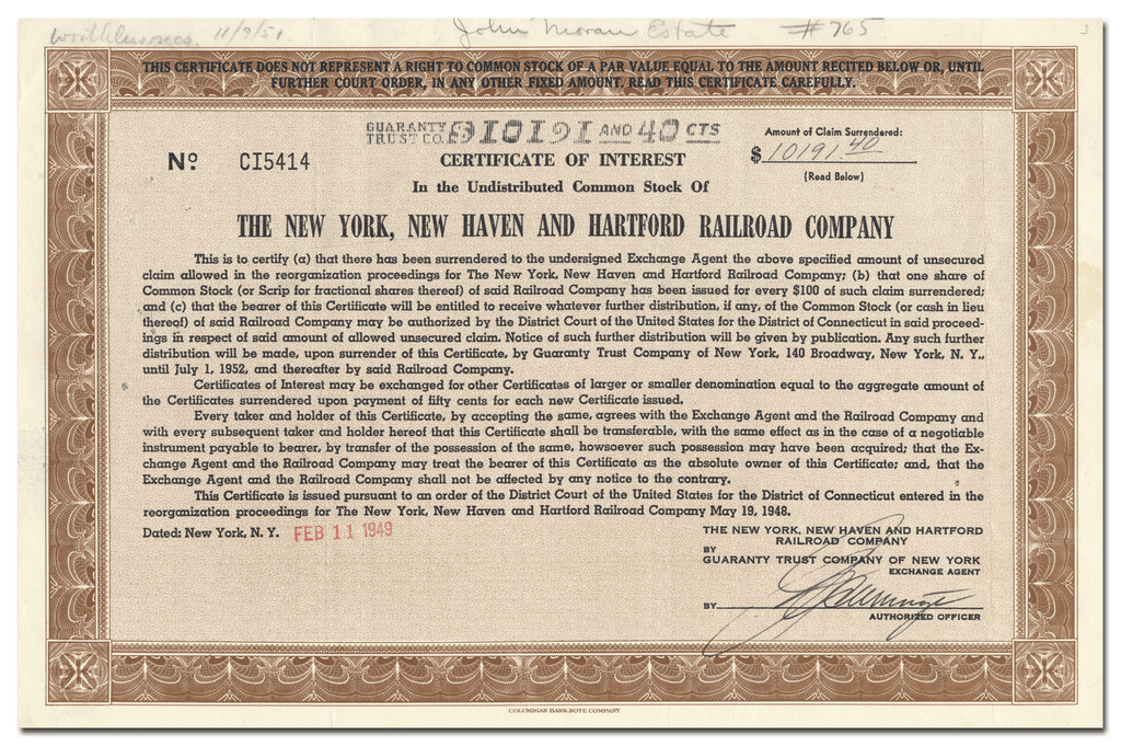 New York, New Haven and Hartford Railroad Company Stock Certificate