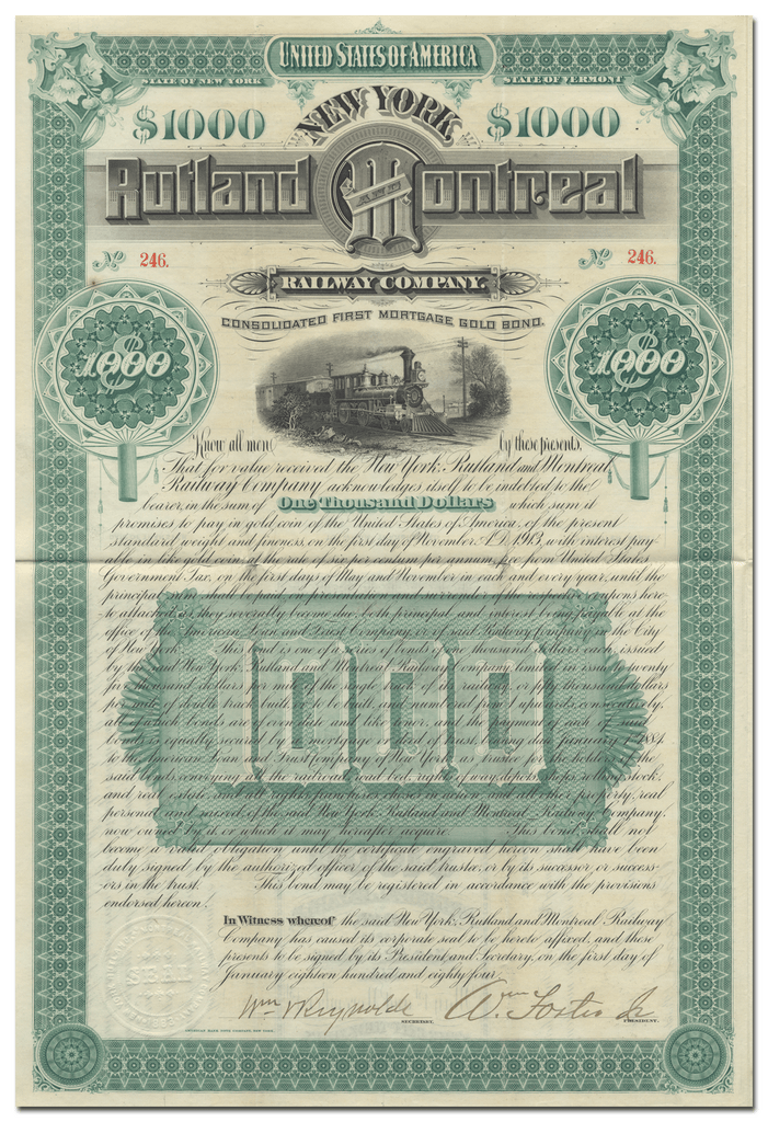 New York, Rutland and Montreal Railway Company Bond Certificate