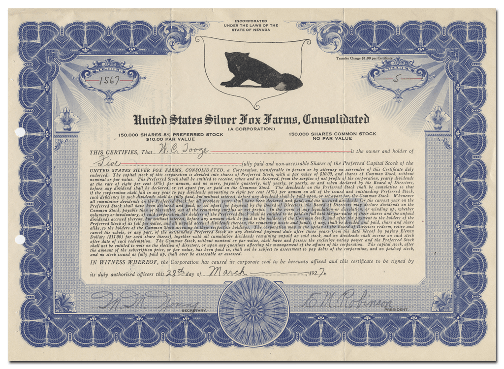 United States Silver Fox Farms, Consolidated Stock Certificate