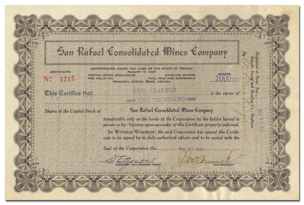 San Rafael Consolidated Mines Company Stock Certificate